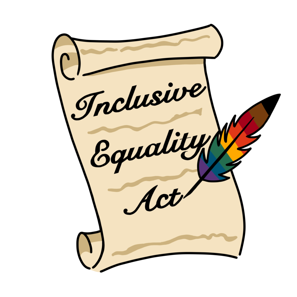 "Decorative Legislative Bill that reads ""Inclusive Equality Act"", written by a rainbow colored quill with additional black and brown stripes."
